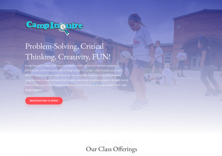 Camp Inquire website