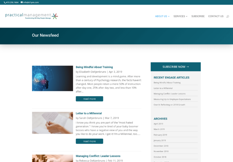 Center For Practical Management website